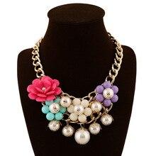 Мода многослойная смолы цветок роскошный искусственного жемчуга ожерелье кулон заявление колье колье для женщин свадьбу