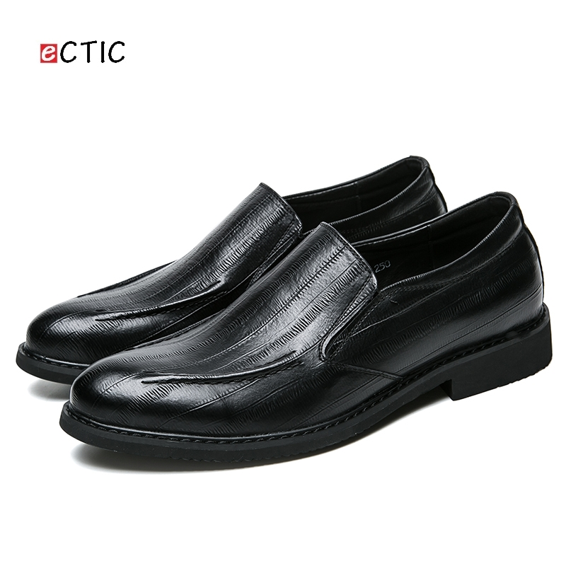 2018 Men Dress Shoes Gentlemen Split Leather Formal Wedding Party Business Style Slip On Chaussures Homme Swagger