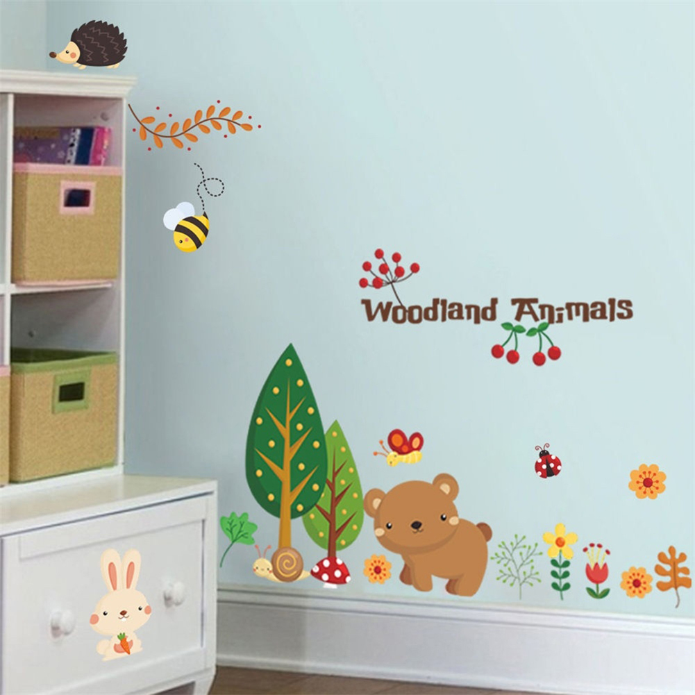 Woodland Animals Self Adhesive Removable Wall Sticker Bedroom Kids Room Decor Muurstickers Kinderkamers Duvar Sticker Room