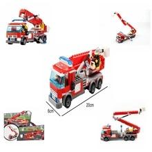 New DIY 244pcs firefighting ladder fire truck Fireman Compatible legoing Building Blocks Educational Toys gift for Children