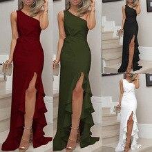 khoshtib Solid color split ruffled long dress