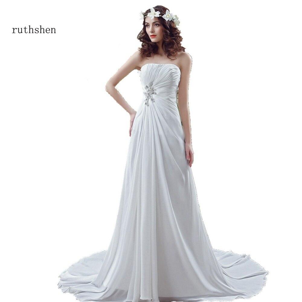 Romantic Wedding Dresses Cheap In Stock Strapless Pleats Draped Chiffon Sweep Train Real Vestidos Baratos 2018