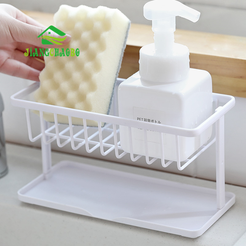 JiangChaoBo Double Sponge Drain Storage Rack Household Kitchen Cleaning Rag Rack Sink Countertop Rack