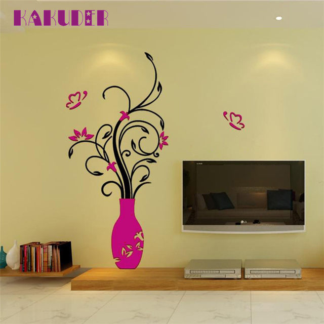 Online Shop DIY Vase Flower Tree Crystal Acrylic 3D Wall Stickers ...
