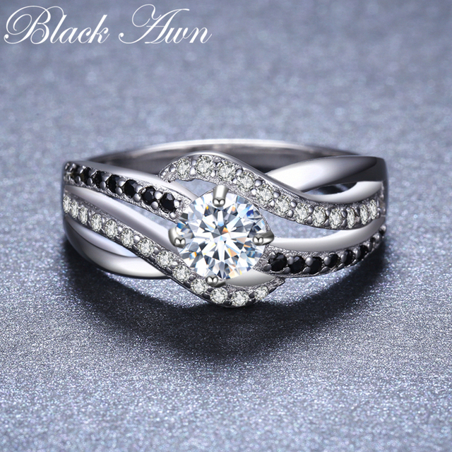 [BLACK AWN] Fine 3.5G Genuine 925 Sterling Silver Jewelry Trendy Engagement Rings for Women Wedding Ring C047 2