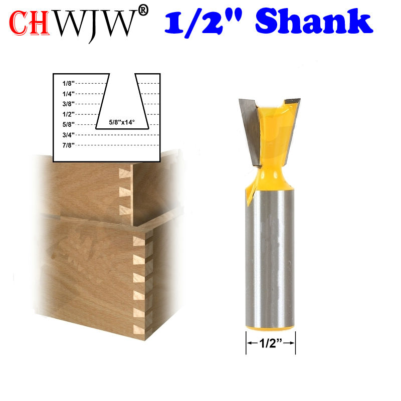 1pc Dovetail Router Bit - 5/8 x 14 Degree - 1/2 Shank Woodworking cutter Tenon Cutter for Woodworking Tools 1 2 5 8 round nose bit for wood slotting milling cutters woodworking router bits