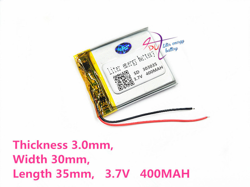 3.7V,400mAH,[303035] Polymer lithium ion / Li-ion battery for voice recorder pen,smartband,smart watch;bluetooth,mp3 3 7v lithium polymer battery 061745 601745 camera pen recorder bluetooth wireless mouse battery