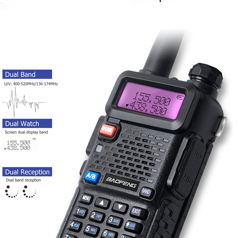 Image 4 - Baofeng UV 5R 3800 MAh 5W Walkie Talkie UHF400 520MHz VHF136 174MHz Portable Two Way Radio Ham UV5R CB Radio UV 5R Hunting Radio-in Walkie Talkie from Cellphones & Telecommunications