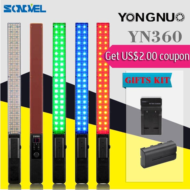 YONGNUO YN360 yn-360 poche LED lumière vidéo 5500 k RGB 39.5 CM bâton de glace professionnel photographie LED Bluetooth 4.0 + combinaison de batterie