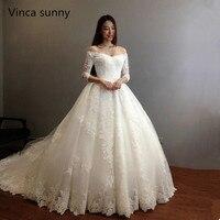 Винча Солнечный Vestidos De Noiva бальное платье торжественное платье 2018 принцесса кружева аппликации Люкс Половина рукава тюль торжественное пла