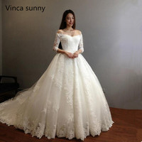 Vinca Sunny Vestidos De Noiva Ball Gown Wedding Dress 2018 Princess Lace Appliques Bridal Half Sleeve