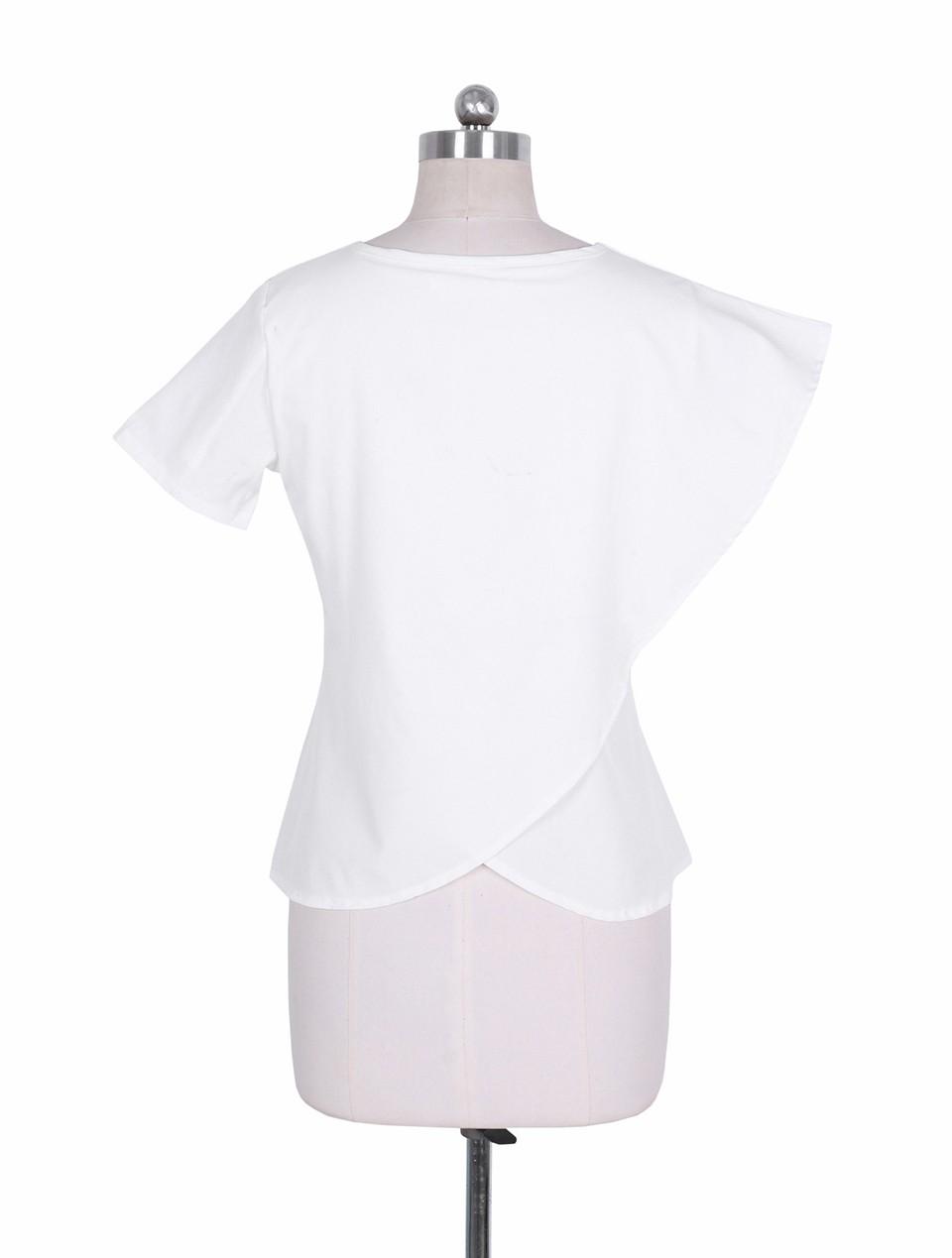 HTB1T5ejNpXXXXcPXpXXq6xXFXXXO - Short Sleeve White Chiffon Blouses Womens Clothing Summer