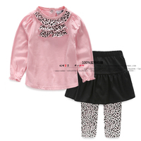 new 2015 spring autumn children clothing sets baby girls pink Leopard print Long sleeve T-shirts + kids leggings pantskirt suits