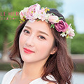 Decoration Artificial Peony &Lily Flowers Hair Accessories with Dry Plant Floral Headdess  for Bride