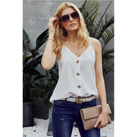 New Shirt Summer Womens Sexy top Strap V neck Vest Solid Color Women Loose T shirt camisas mujer white top woman black shirt hot