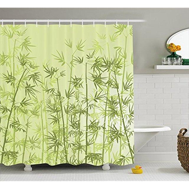 Vixm Forest Shower Curtain Tropical Style Woodland Spiritual Nature Spa Chakra Zen Yoga Concept Cloth Fabric Bath Curtains