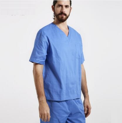 Hospital Isolation Doctor Scrub Set Gown Wash Clothes 100% Cotton Men Women Surgical Clothing V-neck Work Wear Top+Pants,J71