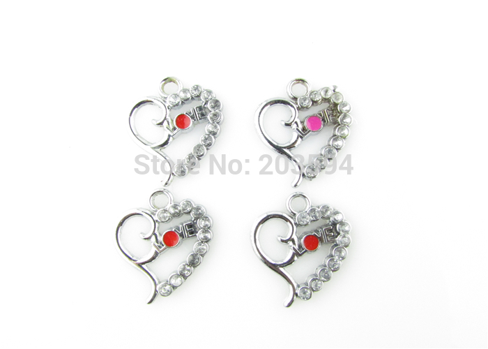AE73 100Pcs Mixed Enamel Alloy Heart Charms Pendants DIY Jewelry Findings Floating Charm 23x19mm