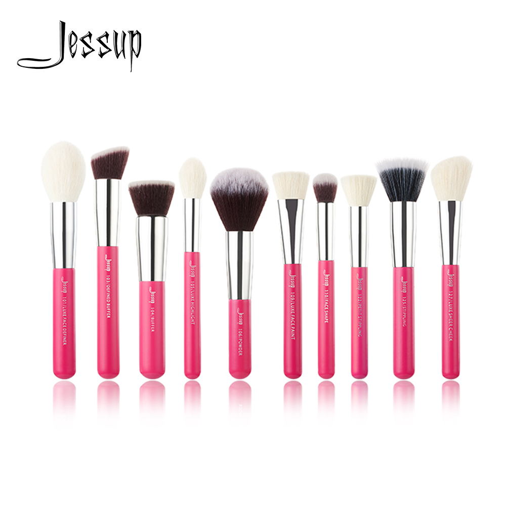 Jessup brushes 10pcs Rose-carmin/Silver Face Makeup brushes set beauty Cosmetic Make up brush Concealer Powder blush jessup brushes 10pcs rose gold black face makeup brushes set beauty cosmetic make up brush contour powder blush
