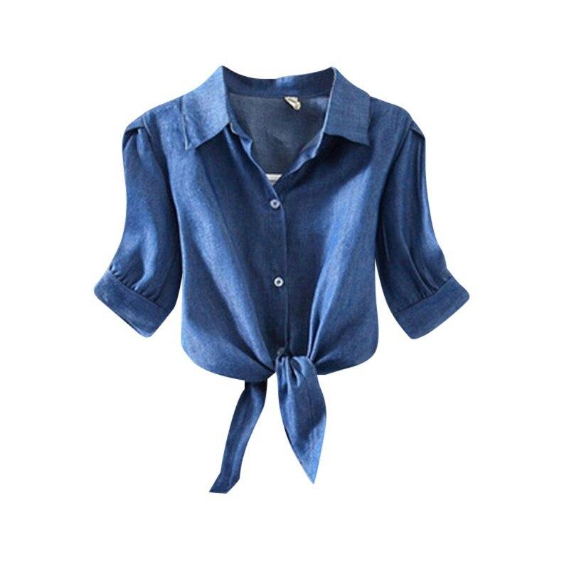 Women Ladies Summer Cotton Blouse Knot Button Casual Short Sleeve Blouse Clothes women bluse Denim & White color