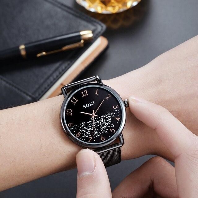 Frauen Uhr Quarz SOKI Marke Concise Lastest Mesh-Armband Galaxy Weibliche Rose Gold Runde Freizeit Damen Uhr Relogio Feminino