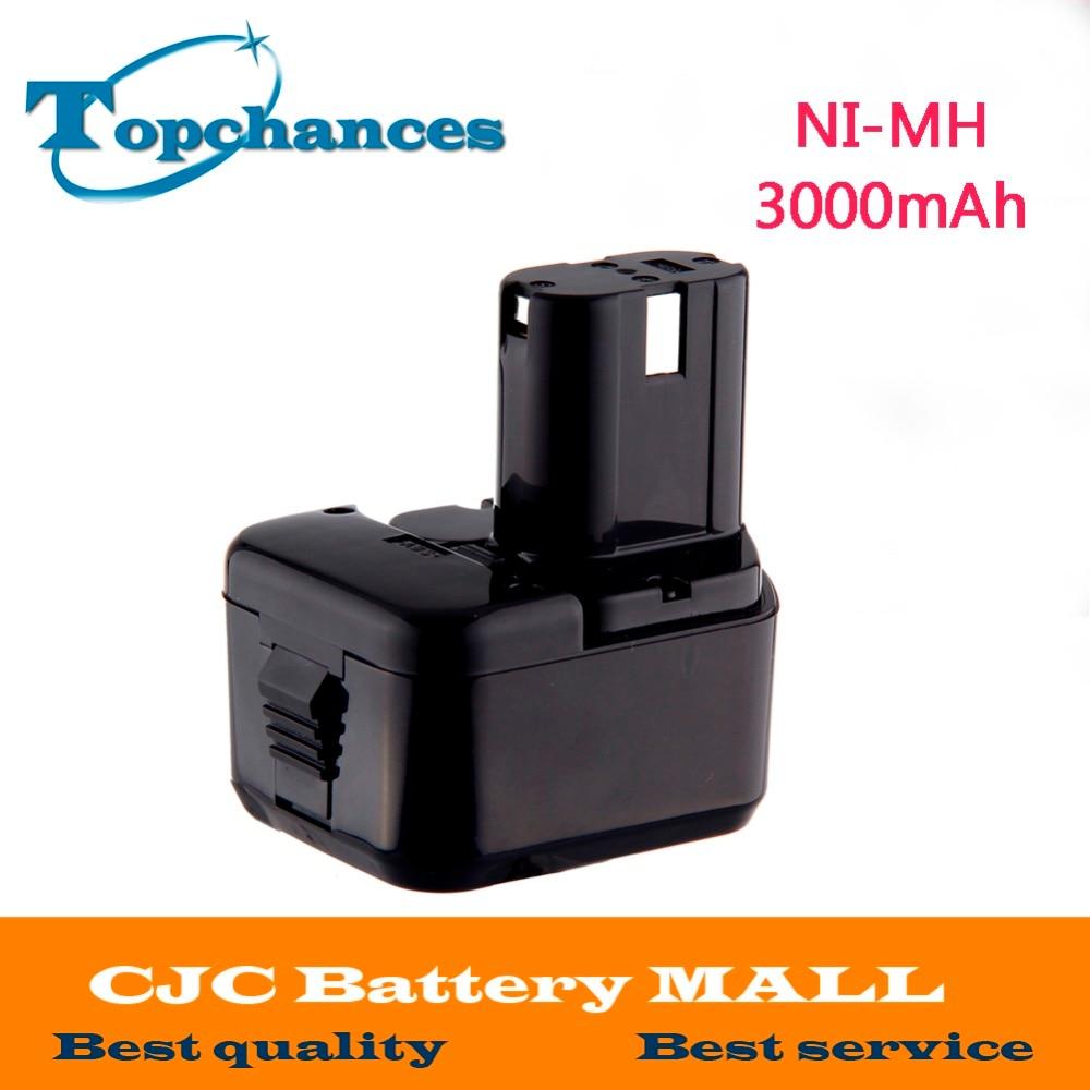 NI-MH 12 V 3000 mAh pour Hitachi EB1214S, EB1220BL, EB1220HL, EB1220HS DH15DV DN12DY DN12DYK DN12Y DW18D