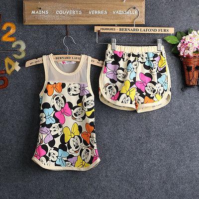 2016 new Summer children girls clothing sets minnie mouse clothes Vest Tops shirt Blouse Pants Set Outfits Suits
