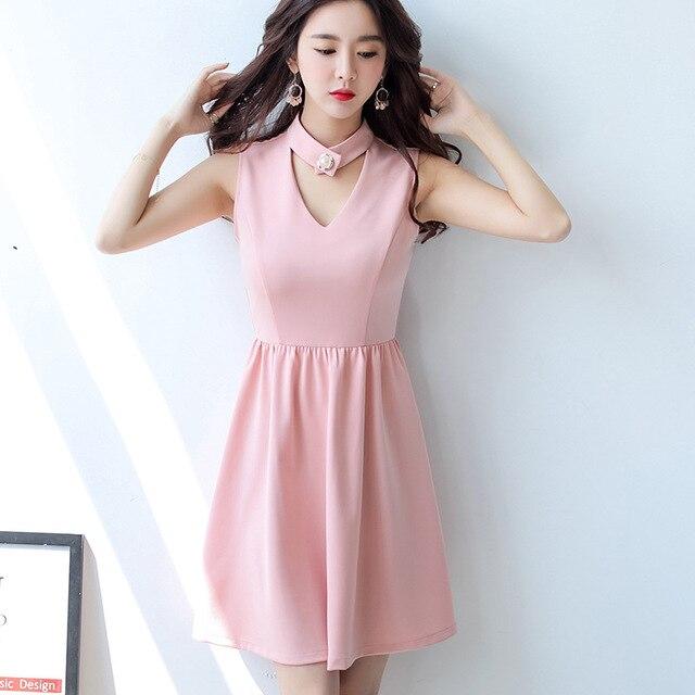 夏のドレス女性服ノースリーブカジュアルドレスミニドレス韓国vネックソリッドピンクスカイ