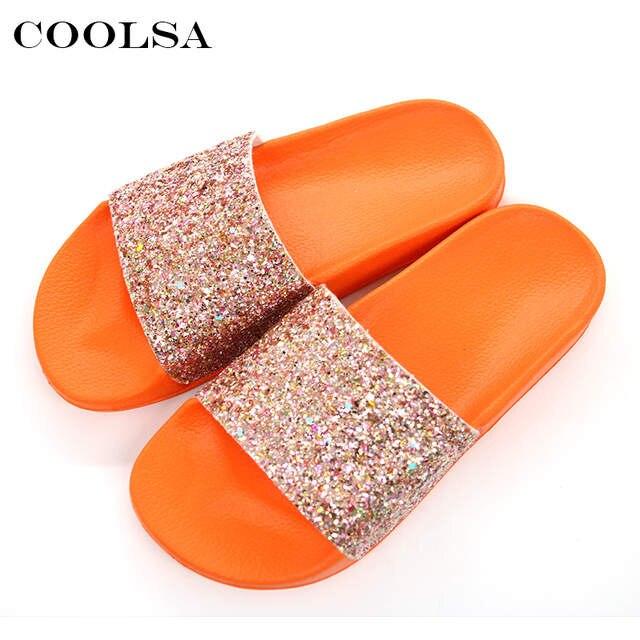 Online Shop COOLSA New Summer Women s Slippers PU Bling Bling Slides Flat  Soft Bottom Sandals Home Flip Flops Female Tap Casual Beach Shoes  3eb4c41fe9e3