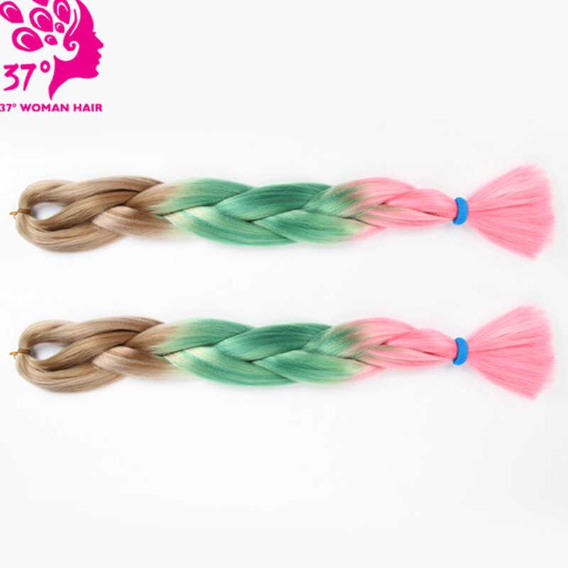 Dream ice's Ombre Jumbo Braid Hair Synthetic braiding hair Extensions Two Tone 1B/Blue Color 100g Crochet Hair 2 pcs