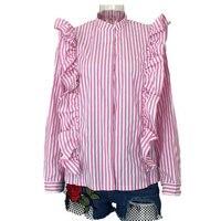 CP Nice Summer Women New Band Collar Pink Striped Ruffles Tops Shirts Fashion Casual Girls Sweet