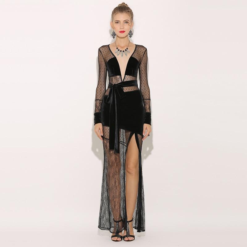 Parthea Sheer Mesh Maxi Dress Long Sleeve Women Velvet Sexy Dress High Split Black Lace Party Dress Floral Dresses Vestidos 2018