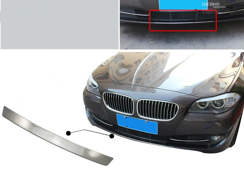 Car Accessories 1* Stainless Front Exterior Front Lip Lower Bumper Protector Cover Trim For BMW 5 Series F10 2011 2012 2013 chrome 3pcs interior head light lamp switch button cover trim for bmw 5 series f10 2011 2012 2013 2014 car styling
