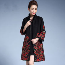 2019 New Female Jacquard Woolen Coat Women Ethnic Embroidery Cloak Hot Lining Thicken Warm Stand Collar Long Winter Coat 3XL 4XL(China)