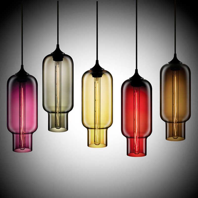 Современный Art Deco подвесной с бусинами из цветного стекла e27/e26 подвесной светильник со светодиодными огнями шнур для ресторана Гостиная Кухня ручной стержень, для кафе