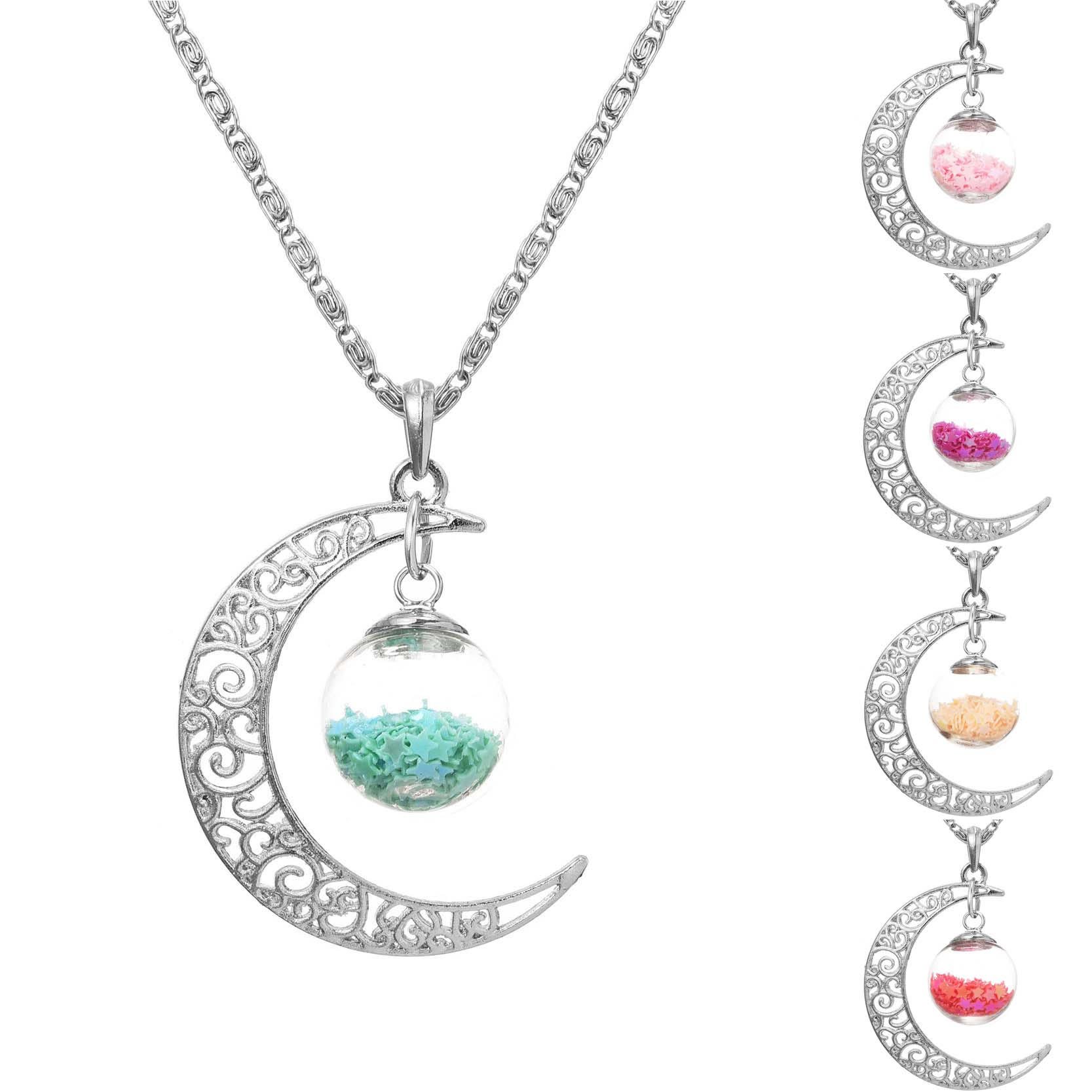 Lucky Jewelry Silver Plated With Crescent Moon Glass Wish