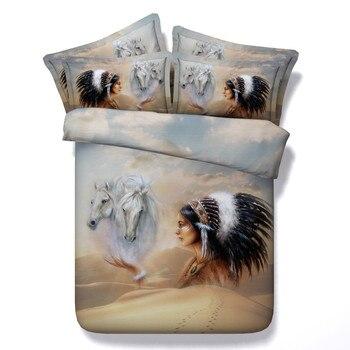 Heißer Wüste Bettwäschesatz Reiner Baumwolle Plansatz Bettbezug-set 4 Stücke Twin Königin Kingsize Schönheit Und Pferde Muster