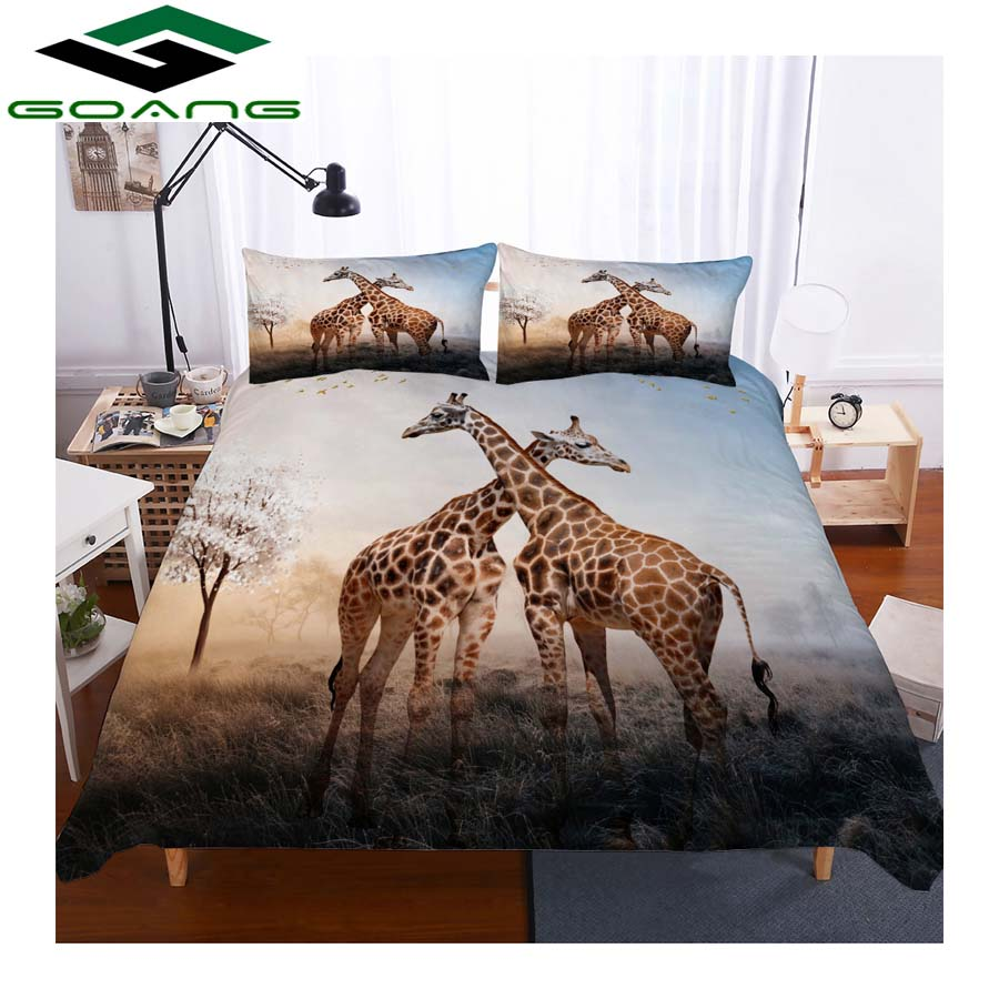 GOANG 3d Bedding Sets Duvet Covers And Pillowcases 3d Digital Printing Sunset Scenery Deer Child Room Decoration