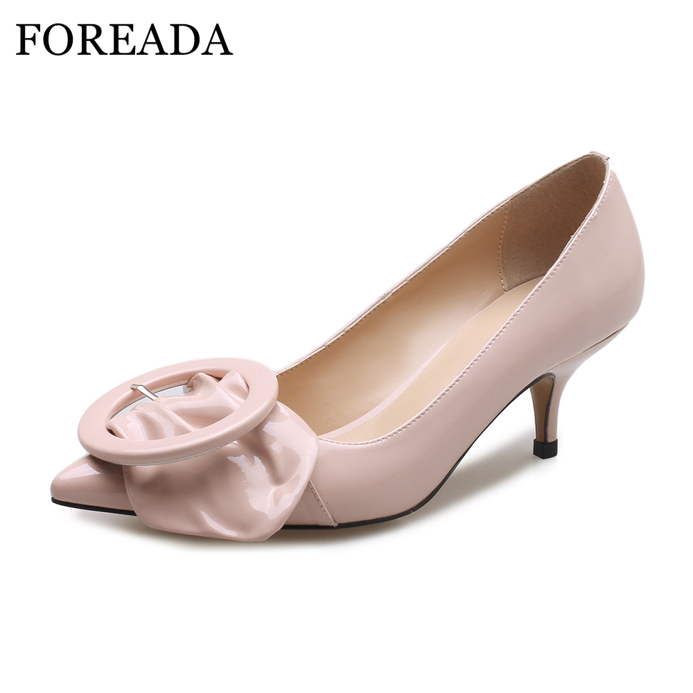FOREADA Patent Leather Shoes Women Pumps Sexy Thin Med Heels Shoes Spring 2018 Slip On Pointed Toe Casual Shoes Ladies Pumps fashion new spring summer med high heels good quality pointed toe women lady flock leather solid simple sexy casual pumps shoes