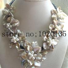 Пресноводный жемчуг белый рис и ракушка цветок ожерелье браслет 18 дюймов природа ручной работы, fppj