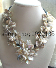 freshwater pearl white rice and shell flower necklace bracelet 18inch nature handmade wholesale FPPJ