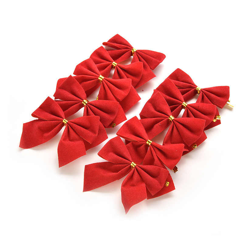 12Pcs Red Bowknot Merry New Year Ornament Happy New Year Xmas Decorating Supplies Christmas Tree Bow Decoration Baubles