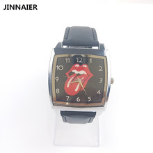 ФОТО 1unit/lot newest cartoon design funny red tongue women men students child gift watches square black leather quartz wrist watches