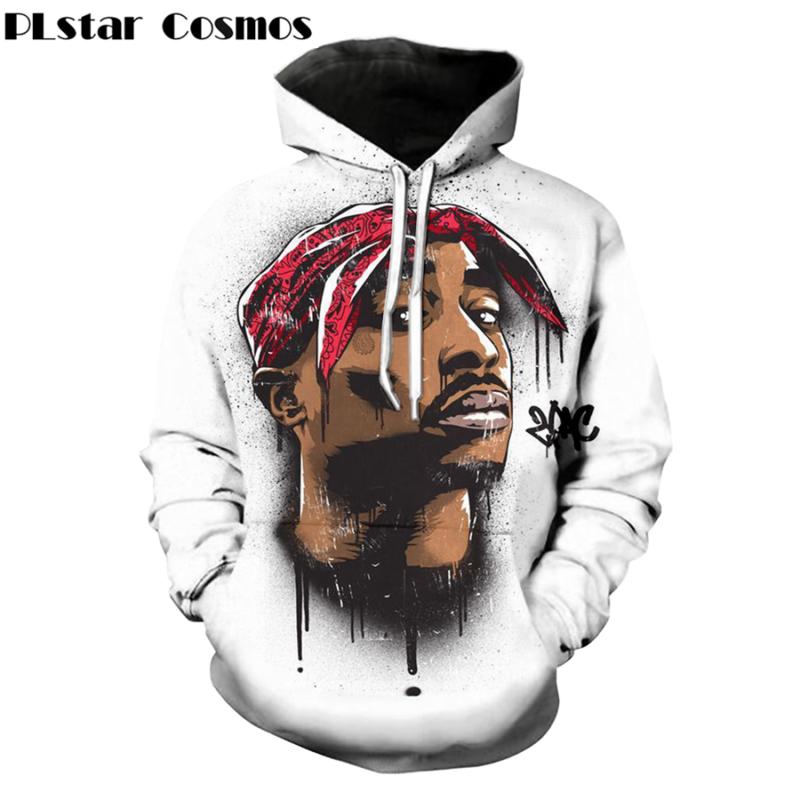 PLstar Cosmos 2018 Autumn Hot Sale Fashion 3d Hoodies Harajuku Style Sweatshirt 2pac Tupac Print Hoody Unisex Casual Outerwear