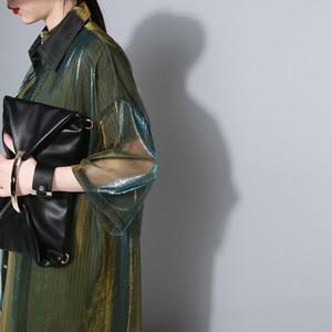 Image 3 - [Eam] 2020春夏新作ラペル七分袖グリーンシン視点ルーズビッグサイズのシャツの女性ブラウスファッションJU180