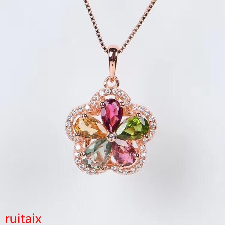 KJJEAXCMY boutique jewels S925 silver natural crystal tourmaline necklace pendant necklace pendant chain box chain.