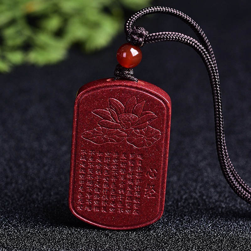 Image 3 - Drop Shipping Natural Cinnabar Lotus Buddhist Scriptures Pendant Necklace Lucky Amulet Jade Necklace For Woman Men Fine JewelryPendants   -