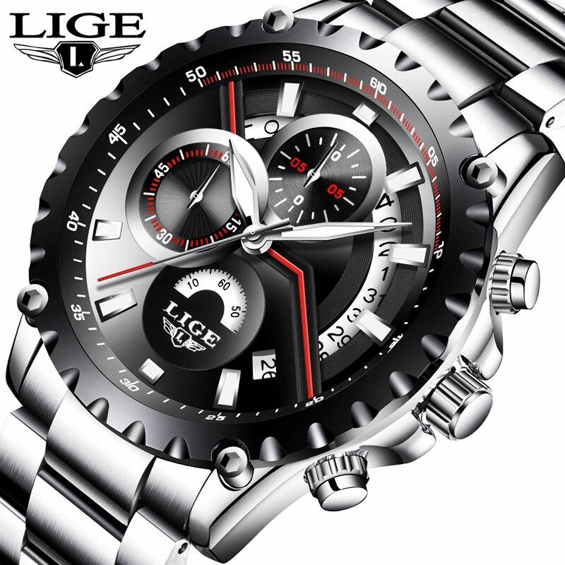LIGE Top Marke Luxus Männer Uhren Voller Stahl Uhr Mann Sport Quarzuhr Männer Casual Business Wasserdichte Uhr Relogio Masculino-in Quarz-Uhren aus Uhren bei  Gruppe 1