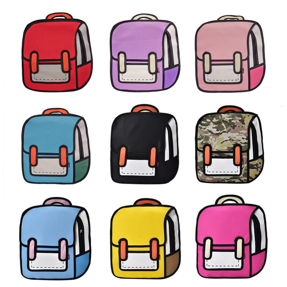 Fashion Women Backpack Creative 2D Drawing Backpacks 3D Jump Style Cartoon School Bag for Girls Traval Rucksack Mochila Mujer