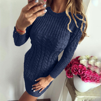 Women Winter Wrap Knitted Dress Warm Slim Fit Solid Color Sweater Dress Casual O Neck Long Sleeve Mini Autumn Dresses Female